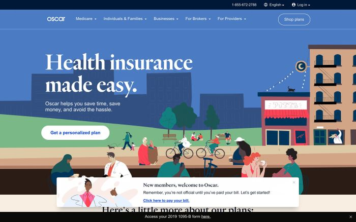 Screenshot of Oscar | Health insurance made easy website