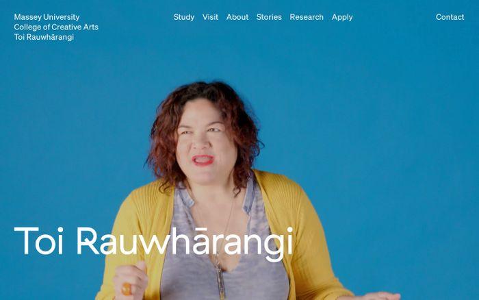 Screenshot of Toi Rauwhārangi College of Creative Arts | Massey University | Create with us