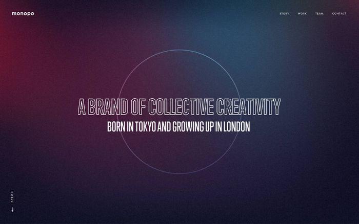 Screenshot of monopo London   Tokyo-born creative agency   Branding, Design, Digital Experience, Video production, Advertising.