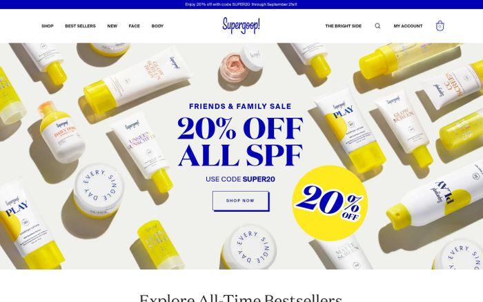 Screenshot of Supergoop website
