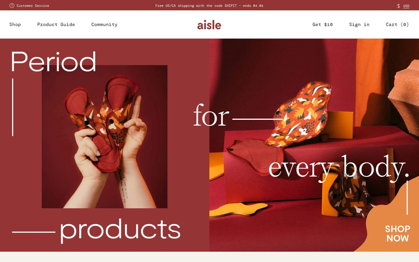 Screenshot of Aisle website