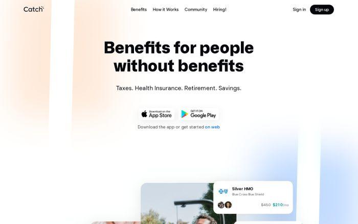Screenshot of Catch website