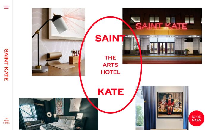 Screenshot of Saint Kate hotel website