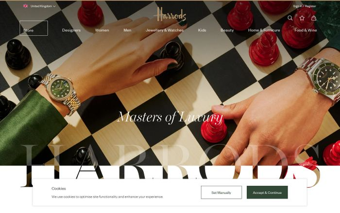 Screenshot of Harrods