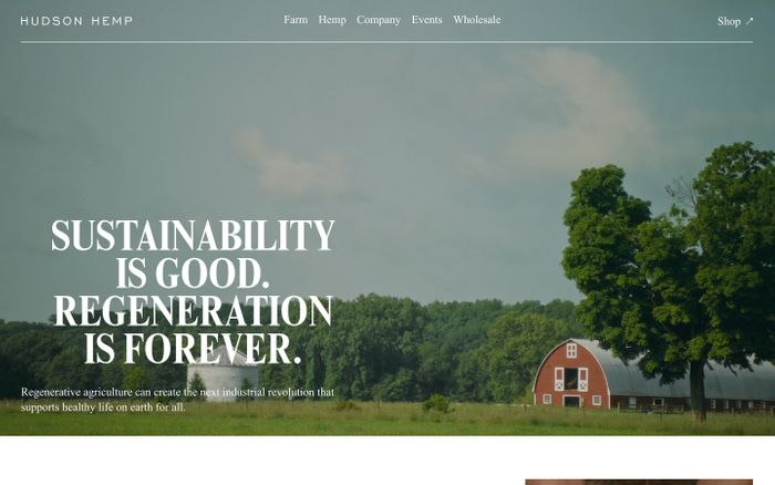 Screenshot of Hudson Hemp — Sustainability is good. Regeneration is forever.