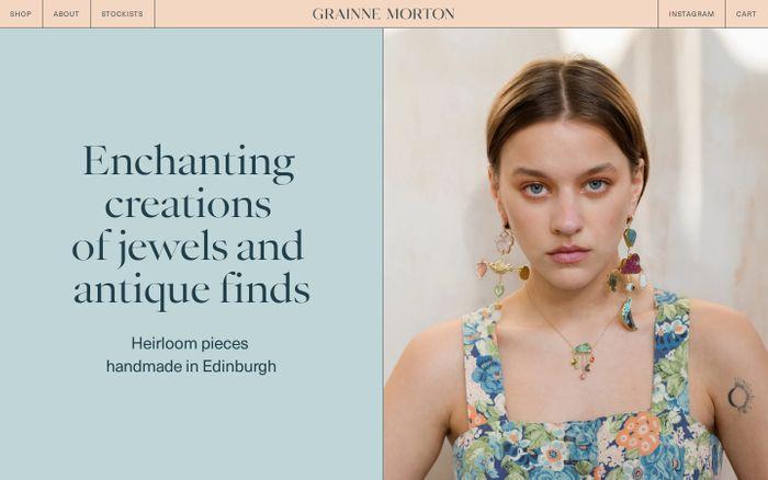 Screenshot of Grainne Morton website