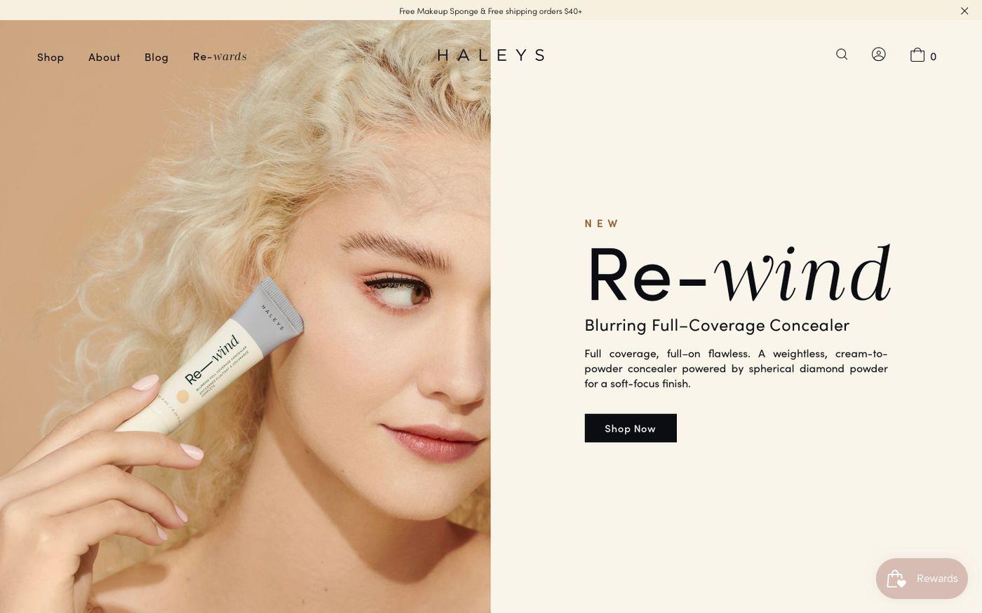 Screenshot of Haleys beauty website