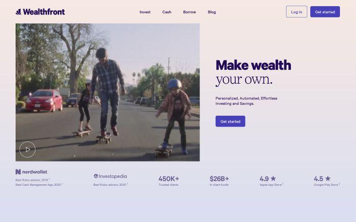 Screenshot of Wealthfront website