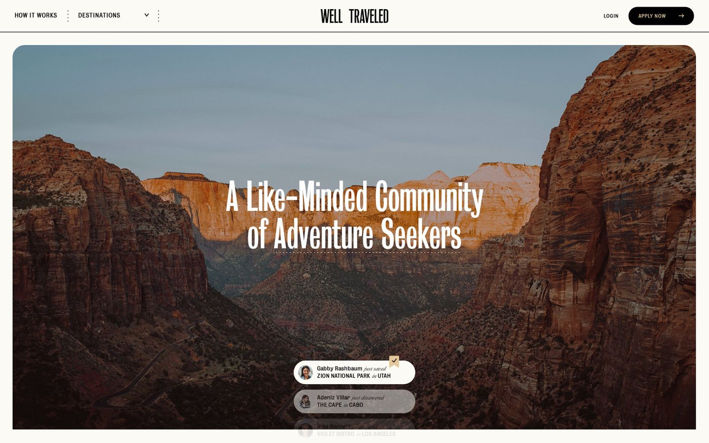 Screenshot of Well Traveled website