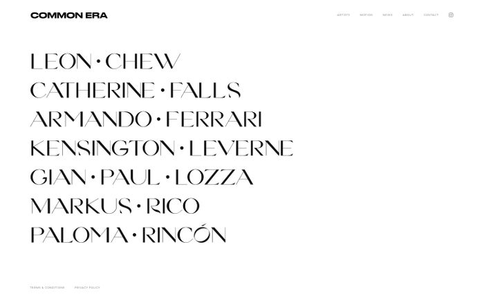 Screenshot of Common Era — London photography agency website