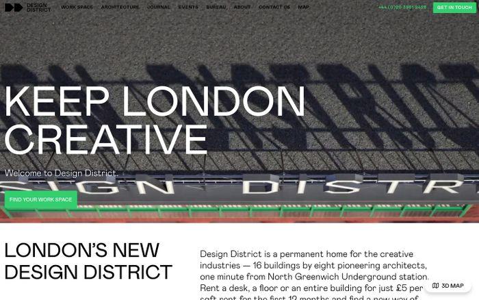 Screenshot of Design District website