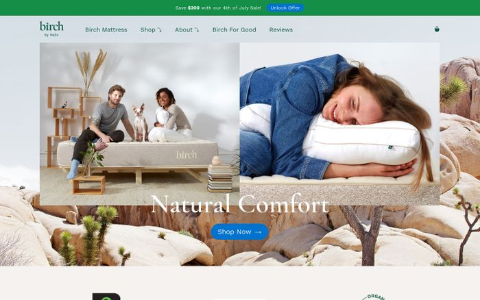 Screenshot of Certified Natural & Organic, USA Made Mattress | Birch Natural & Organic Mattress