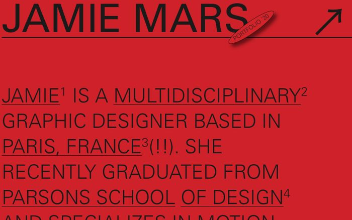 Screenshot of Jamie Mars website