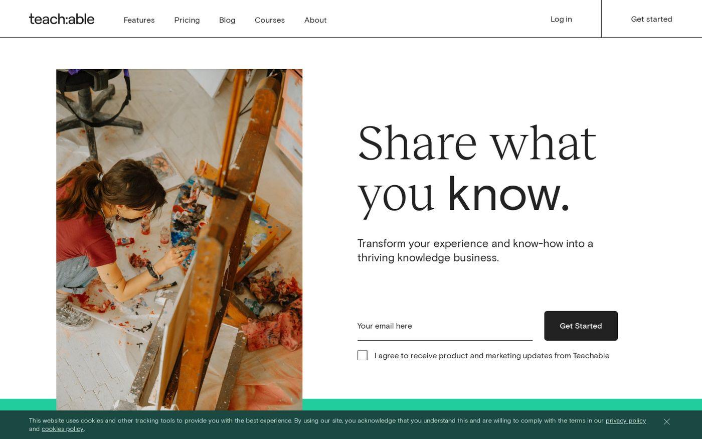Screenshot of Teachable website
