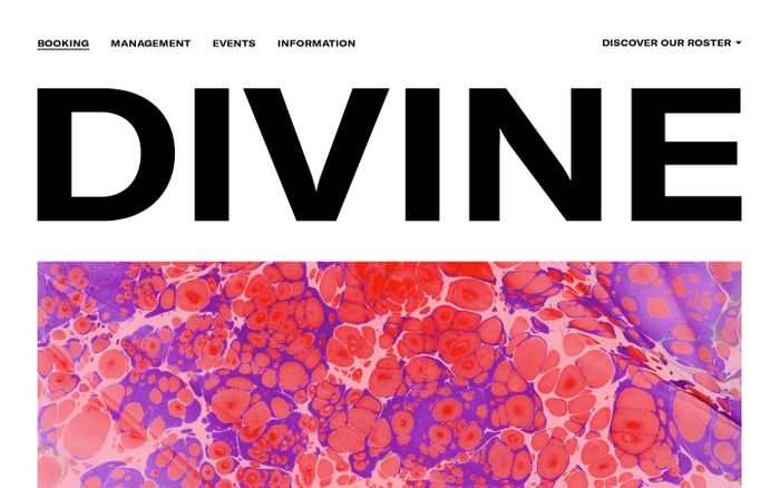Screenshot of Divine website