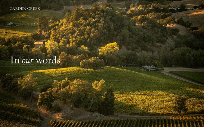 Screenshot of Garden Creek Vineyards website
