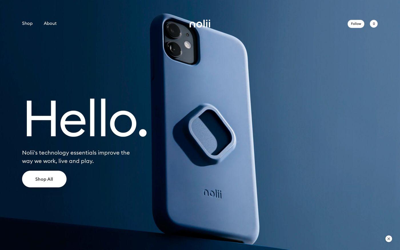 Screenshot of Nolii website