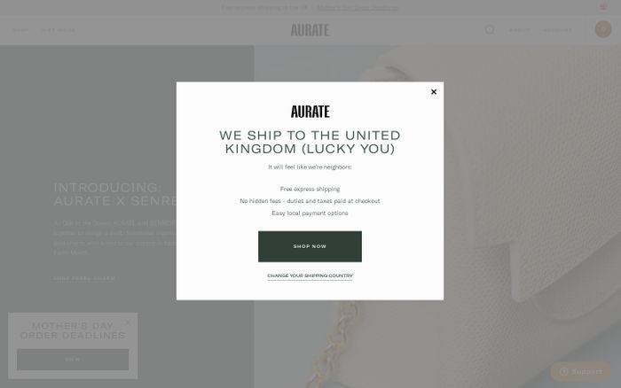 Screenshot of Aurate website