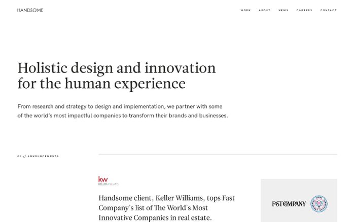 Screenshot of Handsome | Holistic Experience Design Agency