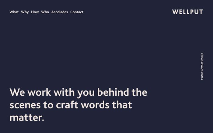 Screenshot of WELLPUT   Writing for resumes, dating profiles, toasts and more