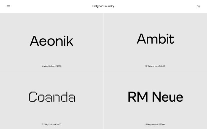 Screenshot of CoType Foundry website