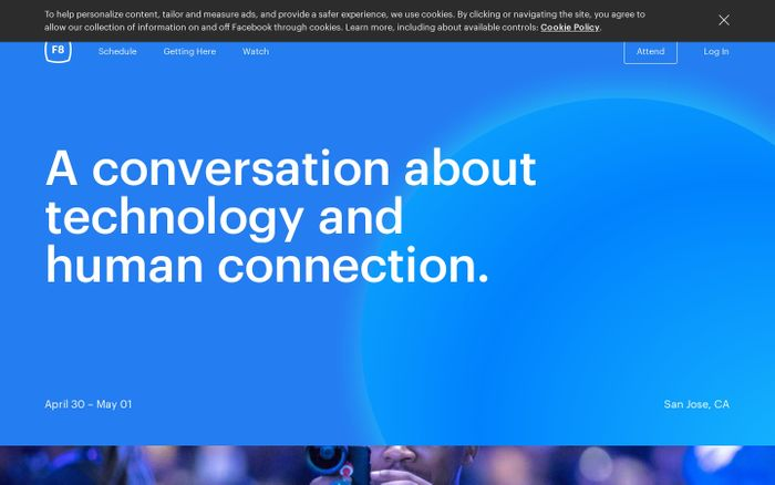 Screenshot of Facebook Developer Conference. April 30 - May 1, 2019.San Jose, CA.
