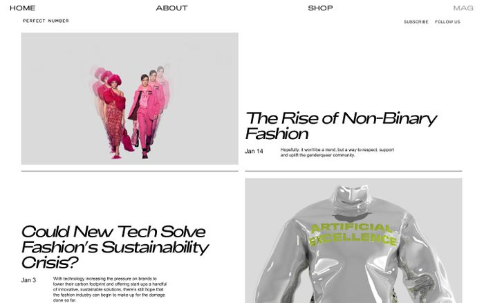 Screenshot of PERFECT NUMBER Mag –– FOREFRONT OF CULTURE & LIFESTYLE