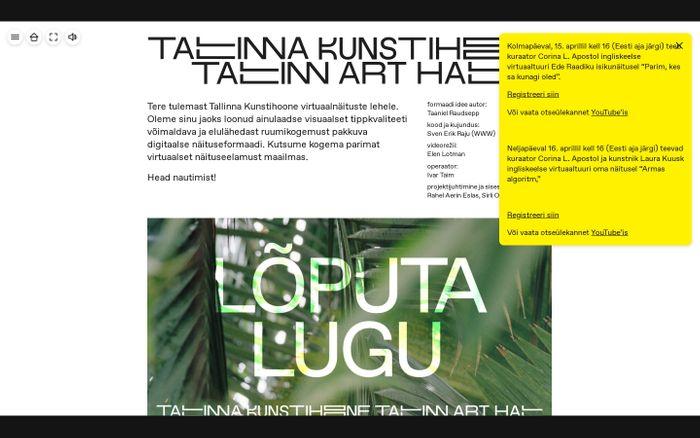 Screenshot of Tallinna Kunstihoone virtuaalnäitus