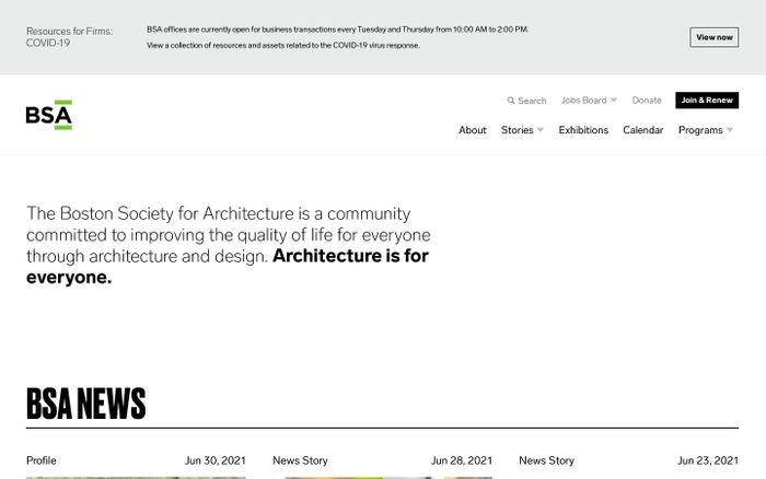 Screenshot of Boston Society for Architecture website