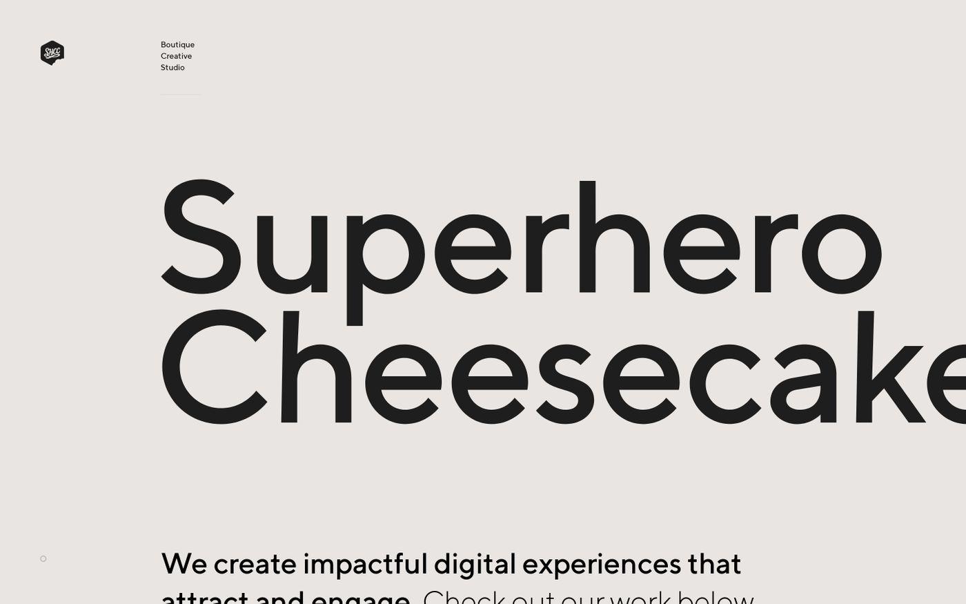 Screenshot of Superhero Cheesecake website