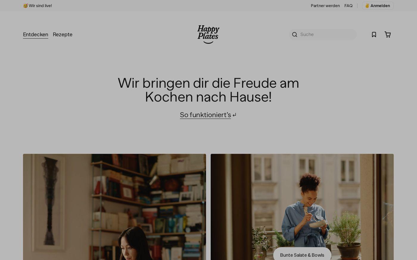 Screenshot of Happy Plates website
