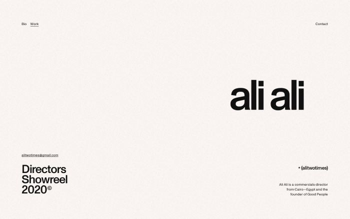 Screenshot of Ali Ali website