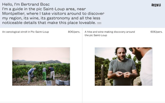 Screenshot of Bertrand Bosc website