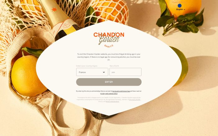 Screenshot of Chandon Garden spritz website