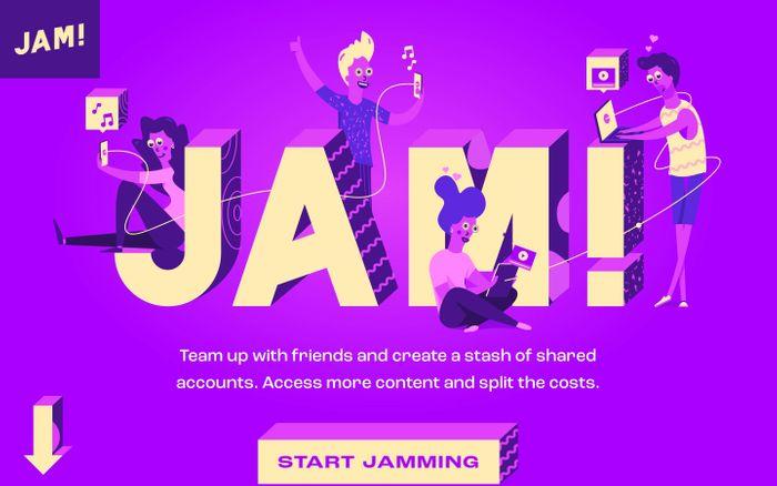 Screenshot of Jam website