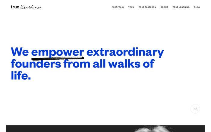 Screenshot of True Ventures - Home