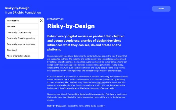 Screenshot of Risky-By-Design | From 5Rights Foundation website