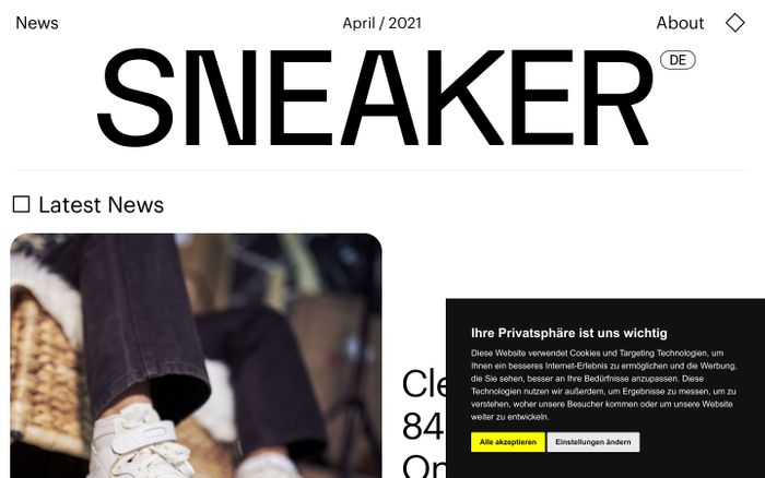 Screenshot of Sneaker website