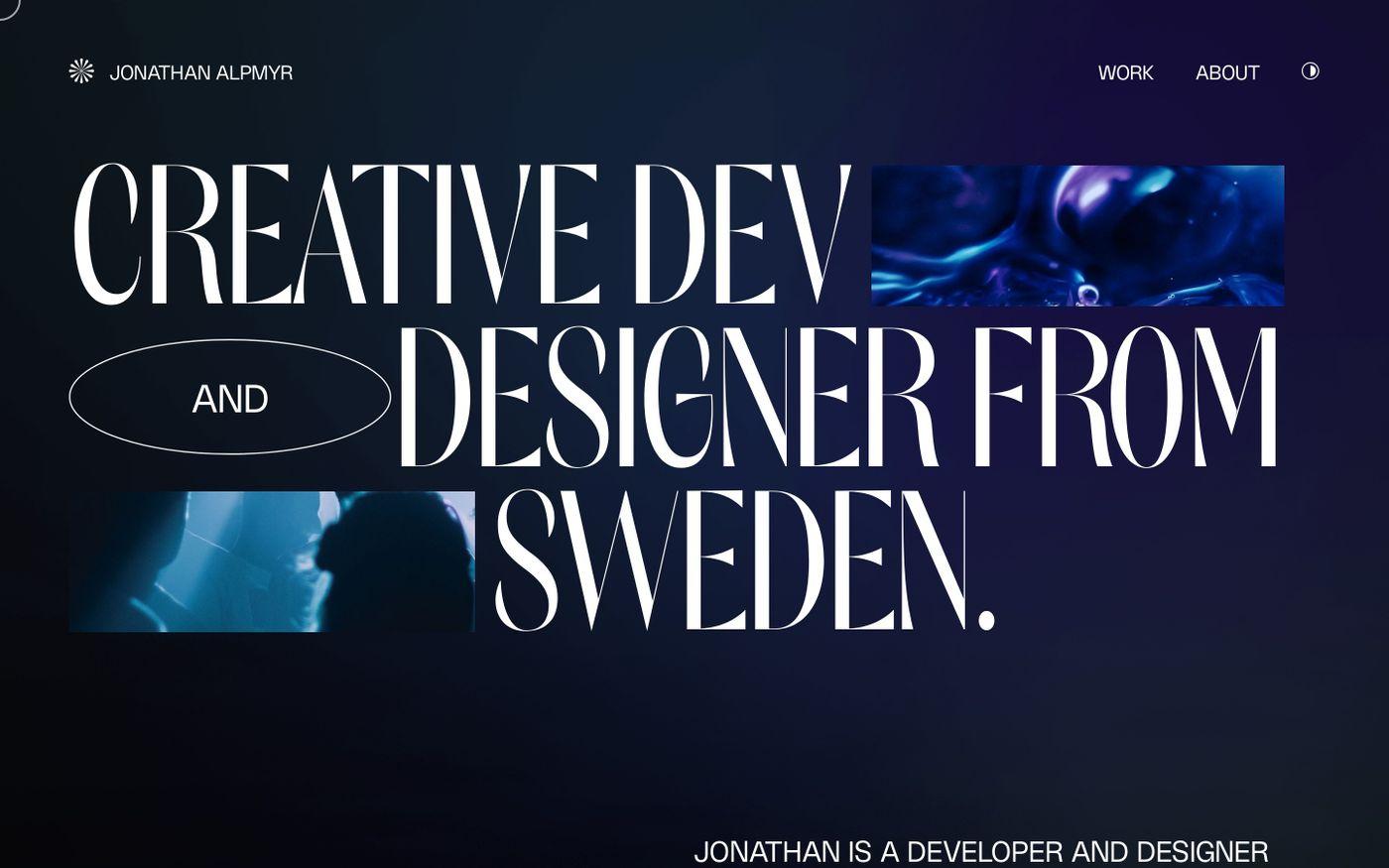Screenshot of Jonathan Alpmyr website