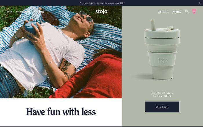 Screenshot of Stojo website