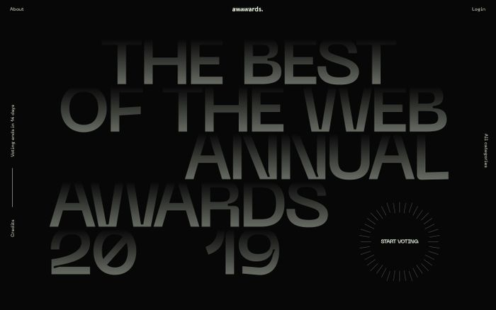Screenshot of Awwwards Nominees of the Year 2019