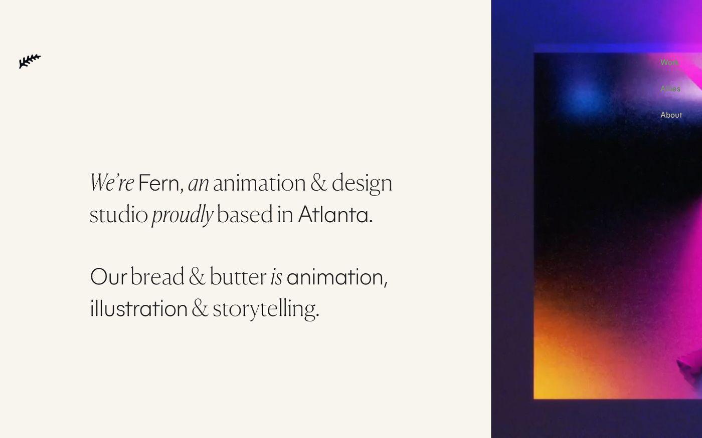 Screenshot of Fern website