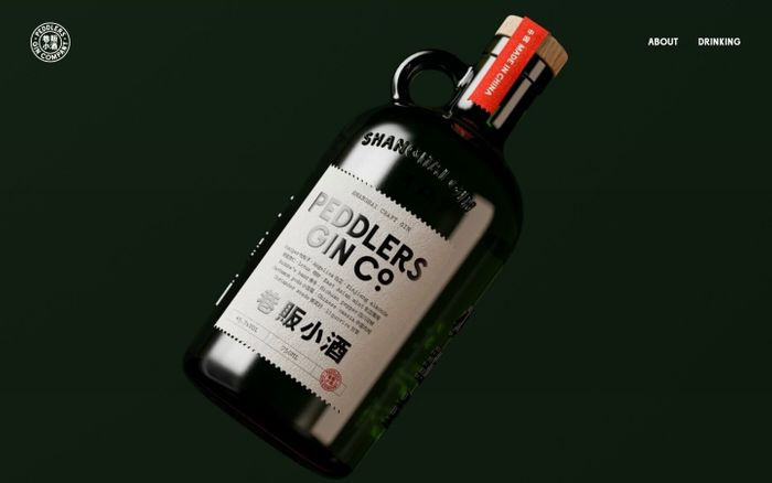 Screenshot of Peddlers gin website