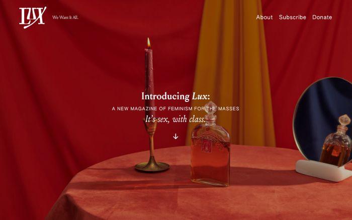 Screenshot of Lux magazine website