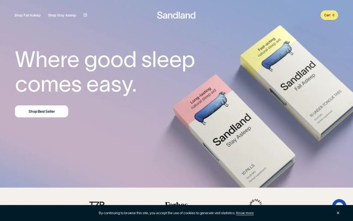 Screenshot of Sandland website