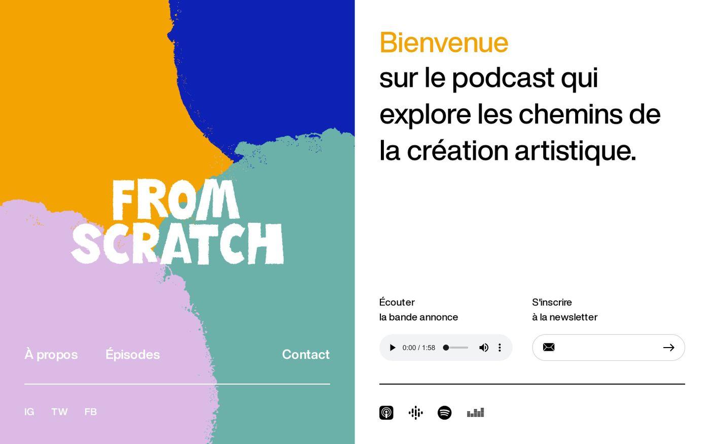 Screenshot of From Scratch website