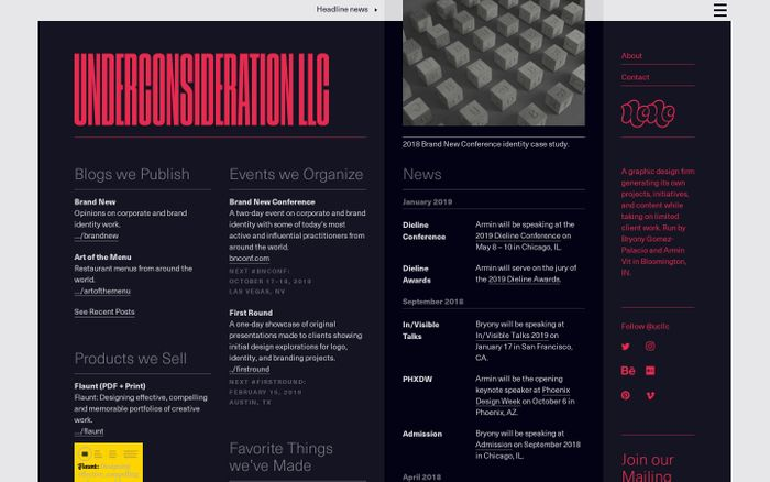Screenshot of UnderConsideration website