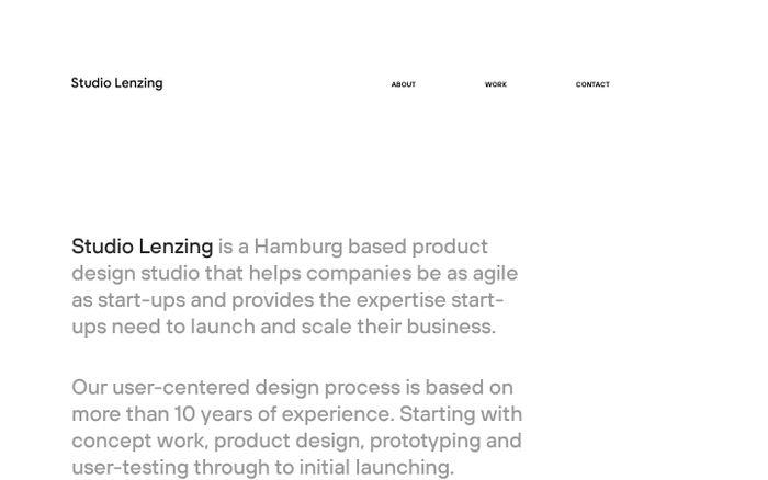 Screenshot of Studio Lenzing website