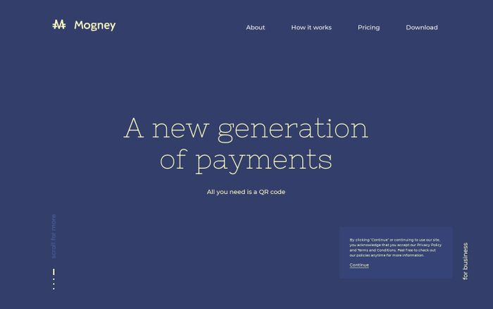 Screenshot of Mogney | A new generation of payments