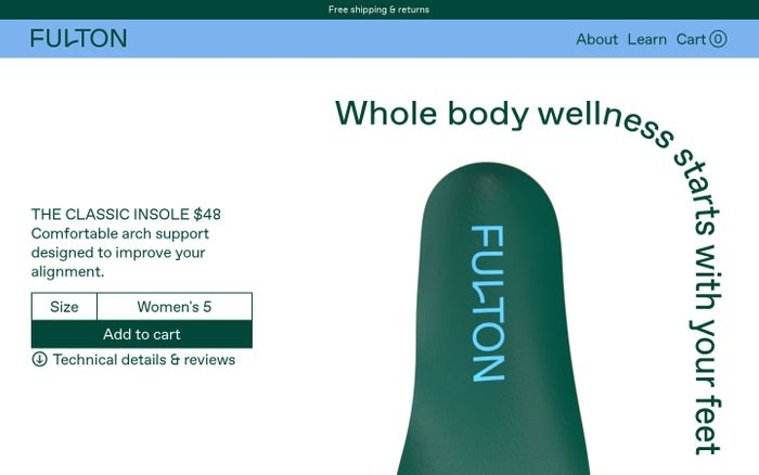 Screenshot of Fulton insoles website